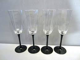 black stem wine glasses riedel octagon champagne flute glass set of 4