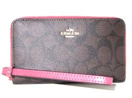 Coach F57468 Zip Around Phone Wallet Signature Brown Rouge Pink Wristlet  NWT 165
