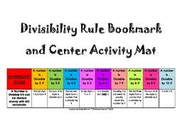 Math Divisibility Rules Chart Divisibility Rules Bookmark Math Center Can Be Used For Prime Factorization