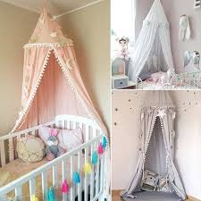 Childrens Canopy Beds Princess Kids Bed Curtains Girl Round Dome ...