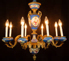 lot 192 sevres hand painted porcelain chandelier