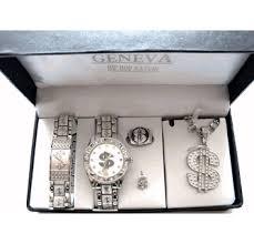 hip hop jewelry set dollar sign silver
