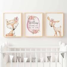 Baby, Girls Floral Woodland Nursery or Bedroom Wall Art Decor Print Set-  Birth Print ...