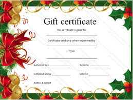 Printable Christmas Certificates Holiday Gift Certificate Template Free Printable Business Plan 96