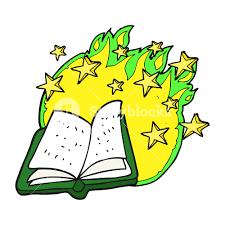 freehand drawn cartoon magic spell book