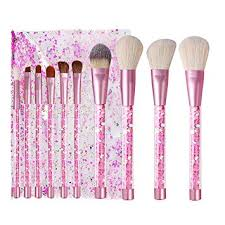 Kingtree <b>Makeup</b> Brushes with Clear Bag, <b>10PCS Pink</b> Quicksand ...