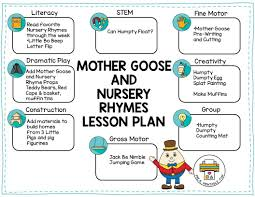 sample lesson plan for preschool nursery rhymes and mother goose theme pre k printable fun