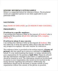 How To Write A General Letter Of Recommendation 8 Sample Generic Recommendation Letter Free Sample