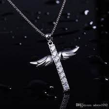 whole cross necklace silver diamond wings pendant necklace silver jewellery diamond pendants from adrew1992 7 77 dhgate com