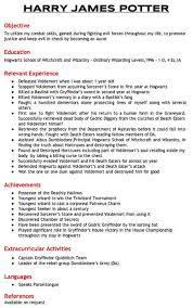 Harry Potter's Resume