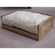 handmade wooden dog bed side view