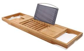 bamboo bathtub caddy tray bathtub rack one or two person bath tray with extending sides for towel book glass