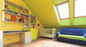 green nursery furniture. Nursery With Shelves, A Crib, Couch And Skylights. Green Furniture