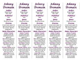 johnny tremain novel study teaching resources teachers pay teachers johnny tremain edition of bookmarks plus fun bie handy reading