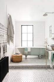 grey subway tiles and hex tiles for a peacful look