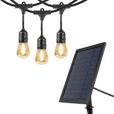 Solar Powered Outdoor Lights Uk Feit 20ft 6 0m Solar Led Outdoor Ip65 Waterproof String Lights Set