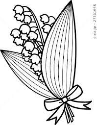 すずらん花束リボン付き 白黒ぬり絵線画ラインのイラスト素材 27361648