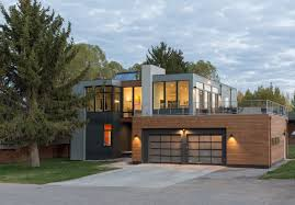 choose this modern prefab homes facade design with double garage doors