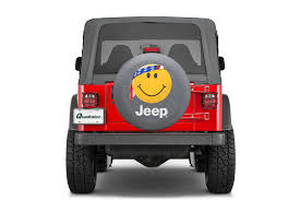 Jeep Smiley Face Lights Mopar Jeep Logo Tire Covers In Black Denim With Smiley Face