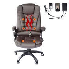 homcom a2 0052 heated ergonomic massage chair swivel high back leather executive adjule vibrating home office furniture brown ca home