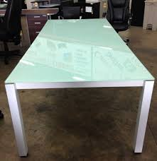 frosted glass table chiarezza ' conference table green frosted