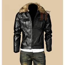 mens casual stylish pocket fur collar leather jacket stylish jackets