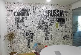 Office wallpaper design Living Room World Map Pune Print Wallpaper Office Wall Decor Ideas