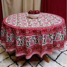 cotton round tablecloth lotus flower block print rectangular square runner table linen red tablecloths 52x70