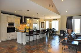 Modern Kitchen Living Room Modern Kitchen And Living Room Design With Black Table And Chairs
