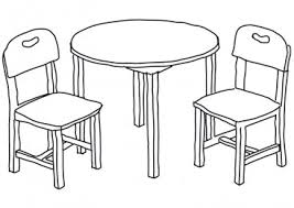 table and chairs clipart. line art chairs and table - download free vector clipart