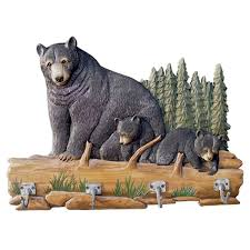 Bear Coat Rack Beauteous Bear Family Carved Wood Coat Rack