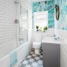 bathroom makeover with palm print wallpaper 4