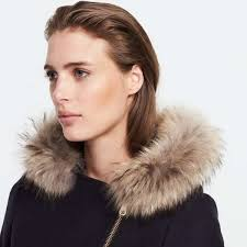 sandro woollen coat with fur hood for womens navy blue 10015620 larger image