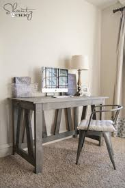 diy wood desk with weathered gray stain settingforfour com