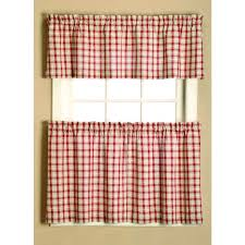 give your home a country style feel with this plaid curtain tier set made