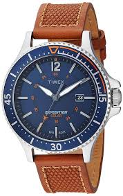 com timex men s tw4b15000 expedition ranger solar tan blue leather strap watch watches