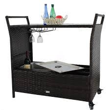 patio bar cart outdoor indoor pe rattan serving carts 2 wheels caster pe wicker bar cart