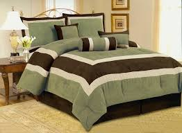 high quality micro suede sage green olive green comforter set bedding in a bag