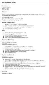 Easy Resume E Simple Hospital Housekeeping Resume Examples Best