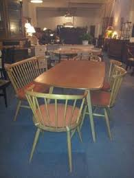 clic 50s ercol table chairs and rare bench perfect condition original cushions i