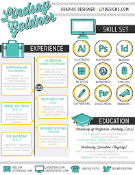 examples of creative graphic design resumes  infographics    lindsay goldner creative graphic design resume