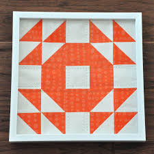 Single Wedding Ring Quilt Block - telafante & ... orange with green stitching (3 of 1) Adamdwight.com