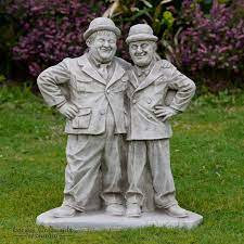 laurel and hardy garden statue ornament