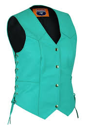 teal leather club vest las teal side lace biker vest