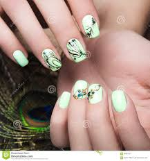 Art Design Manicure With Peacock Feather On Female Hands. Close-up ...