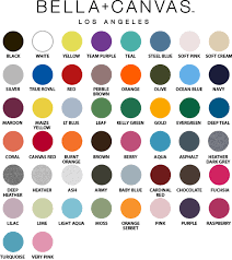 Bella Color Chart Bella Canvas Colors Phoenix Creative Holdings