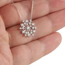 round sterling silver snowflake necklace