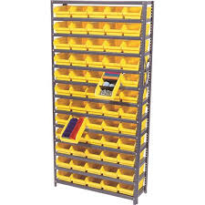 quantum storage systems economy 4 in shelf bin 12 in x 36 in x 75 in 13 tier shelving system complete with qsb101 yellow