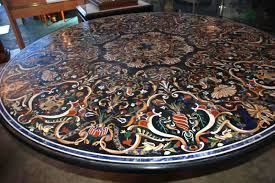 pietra dura mosaic table with base