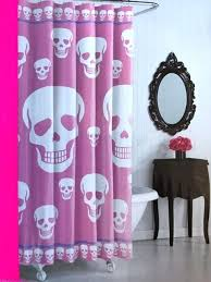 pink purple white goth skulls shower curtain x and striped